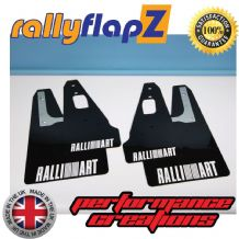 MITSUBISHI EVOLUTION 10 (2007-2015) BLACK MUDFLAPS (Ralliart Logo White)
